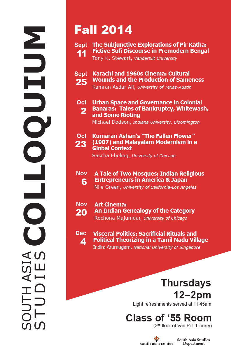 South Asia Studies Colloquium Schedule